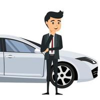 ung affärsman framför sin bil