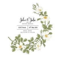 Blumenhand gezeichnete botanische Einladungskartenschablone