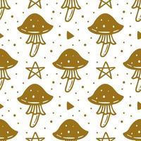 giftiger Pilz, magisches Symbol Halloween nahtloses Muster vektor