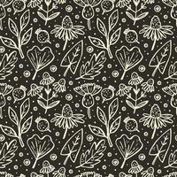 blomma, gren, blad, kon sömlösa mönster vektor