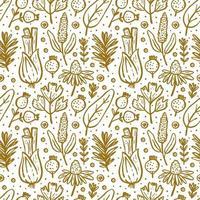 örter, skogsväxter sömlösa mönster vektor