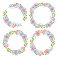 rosa und blaues Blumenkranz-Aquarell-Set vektor