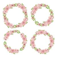 akvarell rosa ros blommig krans samling