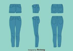 Blå Jean och Hot Pant Vector Set