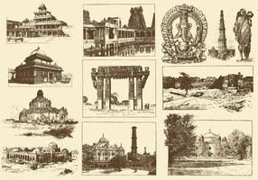 Sepia Indien Illustrationer