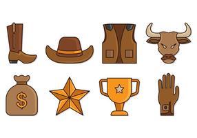Set of Bull Rider Icons