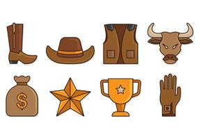 Set von Bull Rider Icons vektor