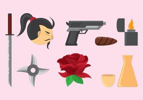 Set av Yakuza-ikoner