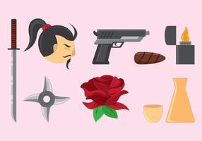 Set von Yakuza Icons vektor