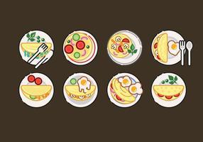 Omelett Vektor Set Illustration