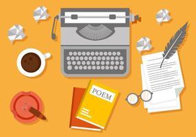 Free Writer Workspace Vektor-Illustration