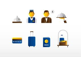 Concierge Icon Set Vektor