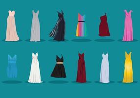 Sammlung von Brautjungfer Kleid vektor