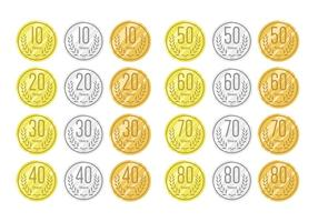 Jahrestag auf Gold Silber und Bronze vektor