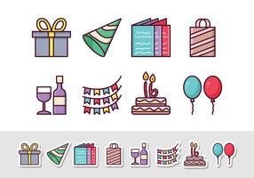Freie Geburtstags-Aufkleber-Ikonen