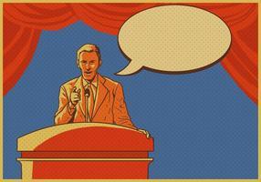 Mann, der Rede am Rednerpult gibt
