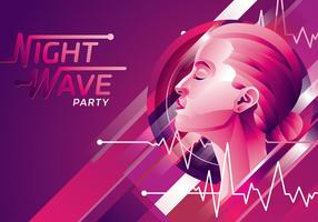 Flatline Night Wave Party Freier Vektor