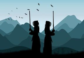 Kendo Mountain Training kostenloser Vektor