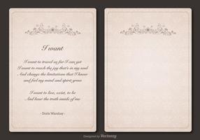Freier Gedicht-vektorweinlese-Schablonen-Entwurf vektor
