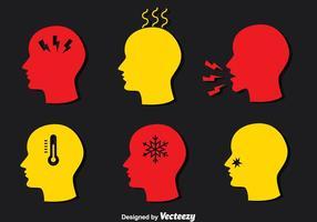 Mann Schmerz Und Affliction Icons Vektor