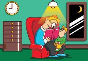Illustration av far och son medan läsning berättar
