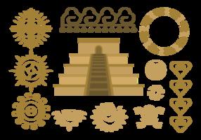 Maya Piramide Relief Vektor