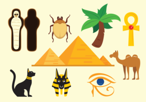 Pyramid Egypten Ikoner Vektor