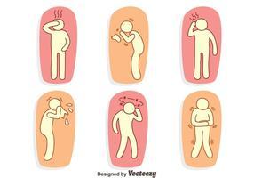 Handdragen smärta och Affliction Vector Set