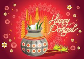 Vektor-Illustration von Happy Pongal Gruß Hintergrund vektor