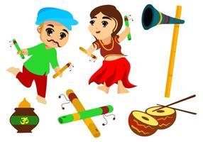 Free Couple Kids Dance Garba Vektor-Illustration