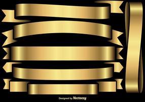 Vector Set Von Goldenen Flaggen / Bänder