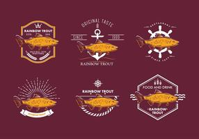 Regenbogenforelle Emblem Freier Vektor