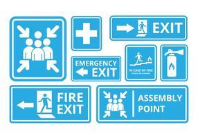Free Fire Exit und Notfall Zeichen Vektor