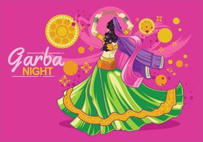 Vektor Design av Kvinna Spelar Garba Dance