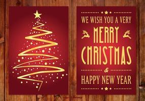 Schöne rote und goldene Weihnachtskarte vektor