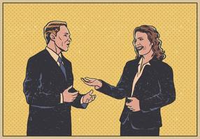 Vektor Affärsman Och Kvinna Kommunicerar