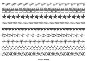Nette skizzenhafte Weihnachtsgrenzen vektor