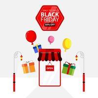 svart fredag banner av smartphone butik vektor