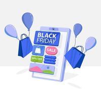 svart fredag banner med lila smartphone butik vektor