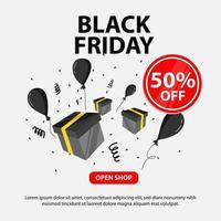 svart fredag banner med gåva och ballonger vektor