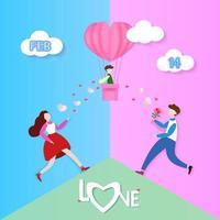 Mann und Frau laufen zum Kind im Herzballon