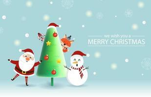Weihnachtsmann, Ratte, Fuchs, Rentier Artound Weihnachtsbaum vektor