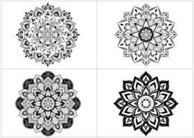 Satz runde Mandalas in schwarz und weiß vektor