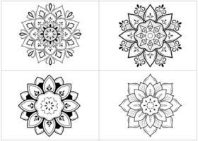 Satz schwarze und weiße kreisförmige Mandalas vektor