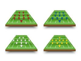 bildande av fotbollsuppställning och taktik på perspektivfält vektor