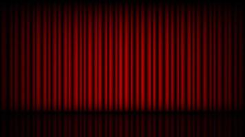 leere Bühne mit geschlossenem roten Theatervorhang