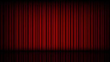 tom scen med sluten röd teaterridå