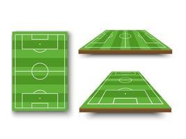 Fußballplatz, Fußballplatz in perspektivischer Ansicht eingestellt vektor