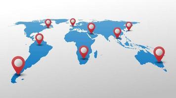 blå världskarta med röd stiftpekare