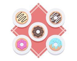 süße Donuts auf Tellern flach liegen vektor
